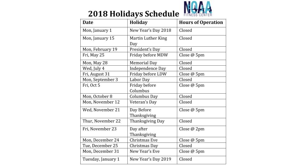 2018 Holidays Schedule